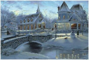 1000-Pieces-Adult-Puzzle-Set-Xmas-Snow-Lovely-Small-Town-Jigsaw-Difficult-Puzzle