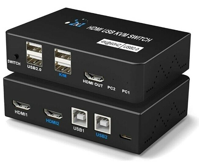 KVM Switches 4K, USB KVM Switch HDMI 2 In 1 Out for 1 Set of Keyboard, Mouse,...
