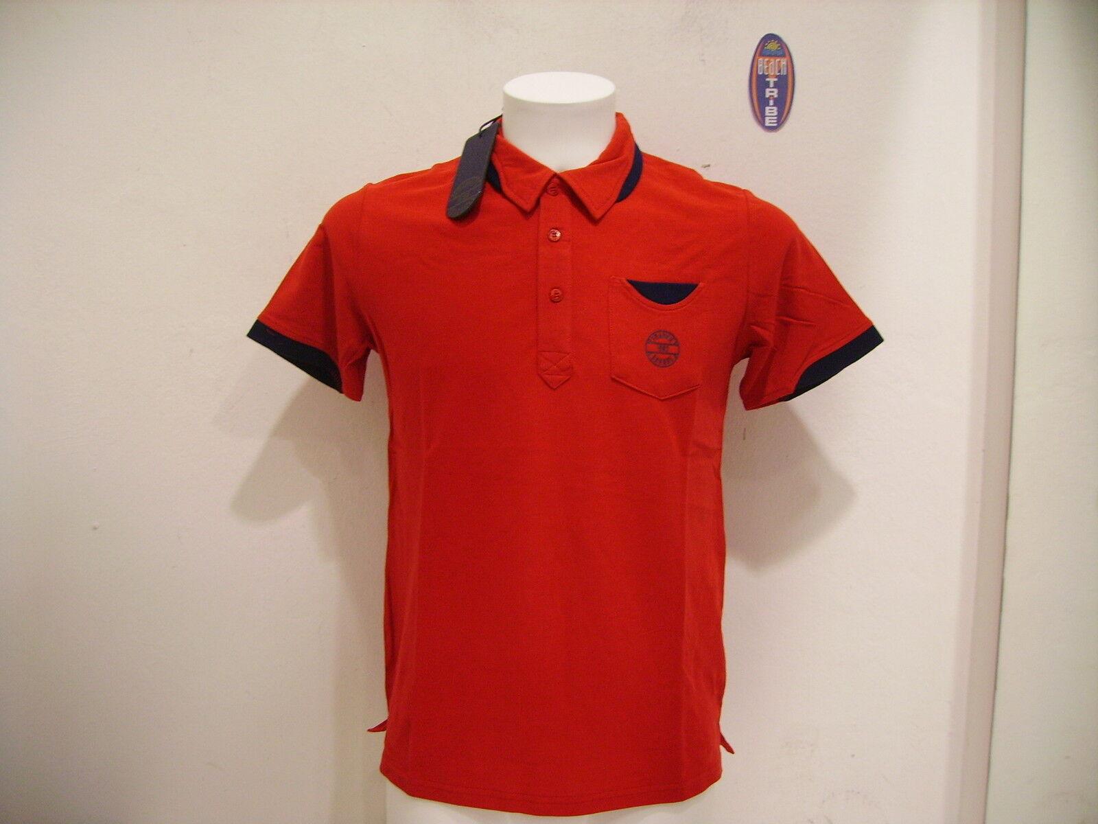 Frankie Garage Men's Pole short Sleeve Fg Po 24058 Red bluee M