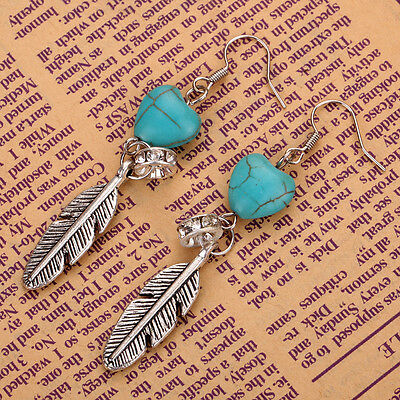 Turquoise Love Heart Tibetan Silver Feather pendant Hook Earrings party jewelry