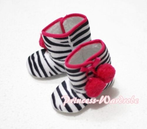 Zebra Printing with Various Cherry Newborn Baby Infant Crib Shoes Boot 6-24month