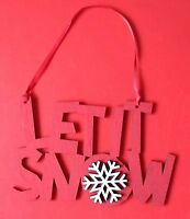 2 LET IT SNOW RED HANGING CHRISTMAS Xmas Tree Wooden DECORATIONS Sign Door