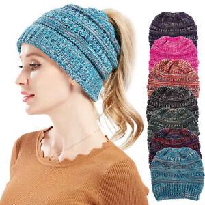 77821fdb7 Details about Women's Girl Stretch Knit Hat Messy Bun Ponytail Beanie Holey  Warm Hats Winter