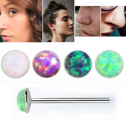 22g 0.6mm Round Set Synthetic Opal Silver Bendable Nose Stud Piercing 1-4PC US