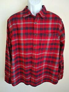 Eddie-Bauer-red-plaid-long-sleeve-flannel-shirt-mens-XXL
