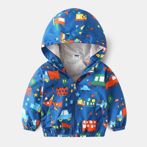 Toddler Kids Boys Girls Windbreaker Jacket Cartoon Hooded Coat Outerwear Clothes
