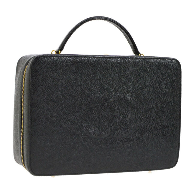 24b842a3f1fe Auth CHANEL CC 2way Cosmetic Vanity Hand Bag Black Caviar Skin Leather  AK27747