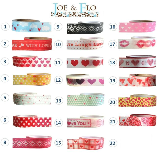 Washi Tape, Masking Tape, Gift and Craft Tape - HEARTS & VALENTINE