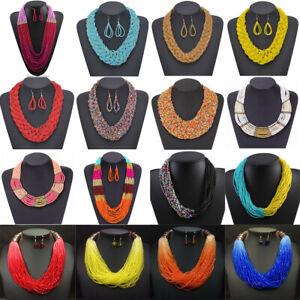 Fashion-Multi-Layer-Chain-Resin-Seed-Beads-Chunky-Choker-Statement-Bib-Necklace