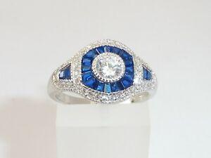 Damen-Art-Deco-Halo-Design-925-Sterling-Silber-Silber-Blau-amp-Weiss-Saphir-Ringe
