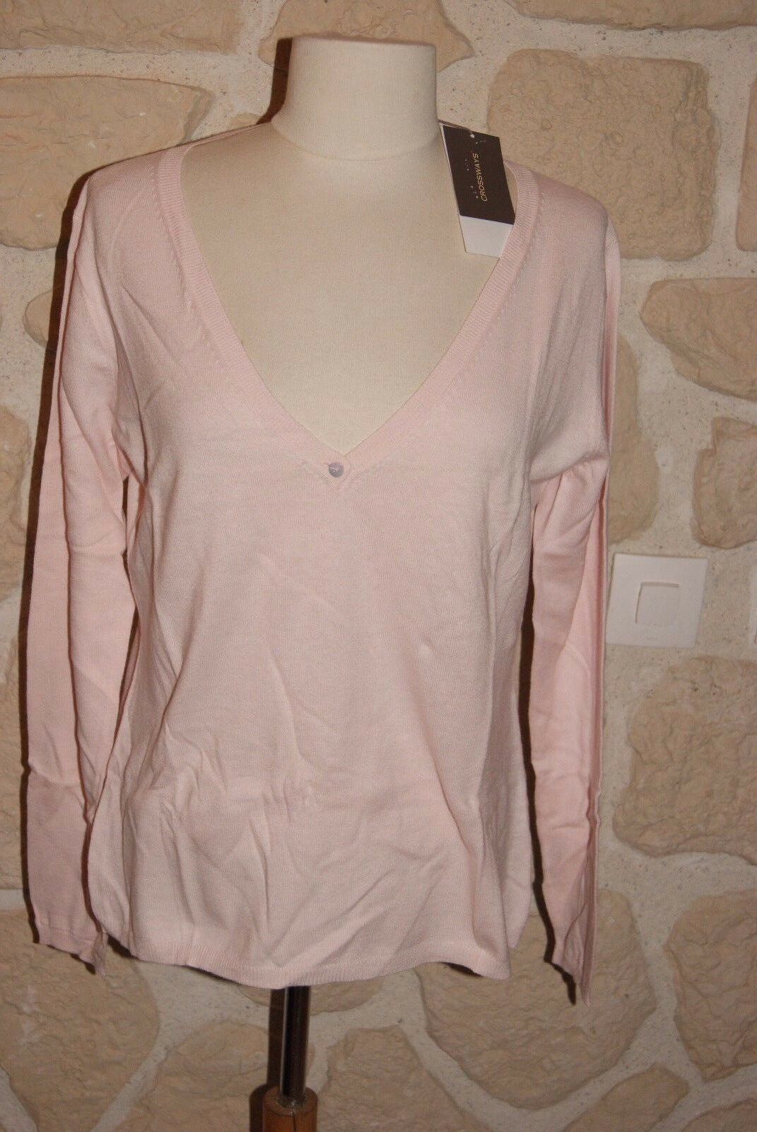 Pull pink neuf size L col V marque GROSSWAYS étiqueté à  coton et cachemire
