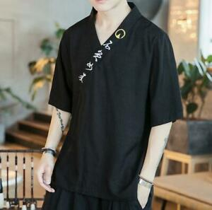 Mens-Linen-Shirt-V-Neck-Short-Sleeve-Loose-Fit-Chinese-Embroidery-Floral-Summer