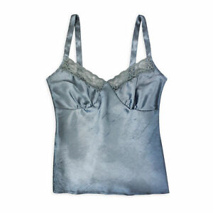 Womens-Ladies-Floral-Lace-Silk-Vest-Top-Cami-Top-Camisole-Satin-Effect-Ice-Blue