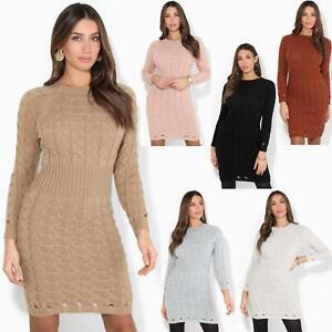 Womens-Ladies-Jumper-Dress-Longsleeve-Mini-Warm-Winter-Knit-Top-Bodycon