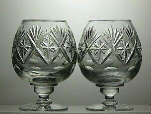 GEORGIAN-CRYSTAL-CRYSTAL-034-CHATSWORTH-034-CUT-BRANDY-GLASSES-SET-OF-2