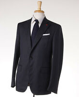 $3695 Isaia Charcoal Gray-sky Blue Stripe Super 130s Wool Suit 40 R (eu 50) on sale