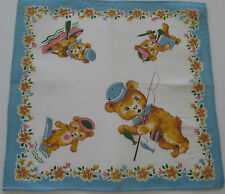 Vintage Childs White Batiste Hankie Bears Fishing Pole Dive Board Rowboat 1950s*