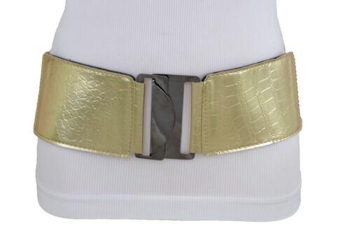 Women Fashion Metallic Gold Color Wide Stretch Band Belt Faux Leather Size M L