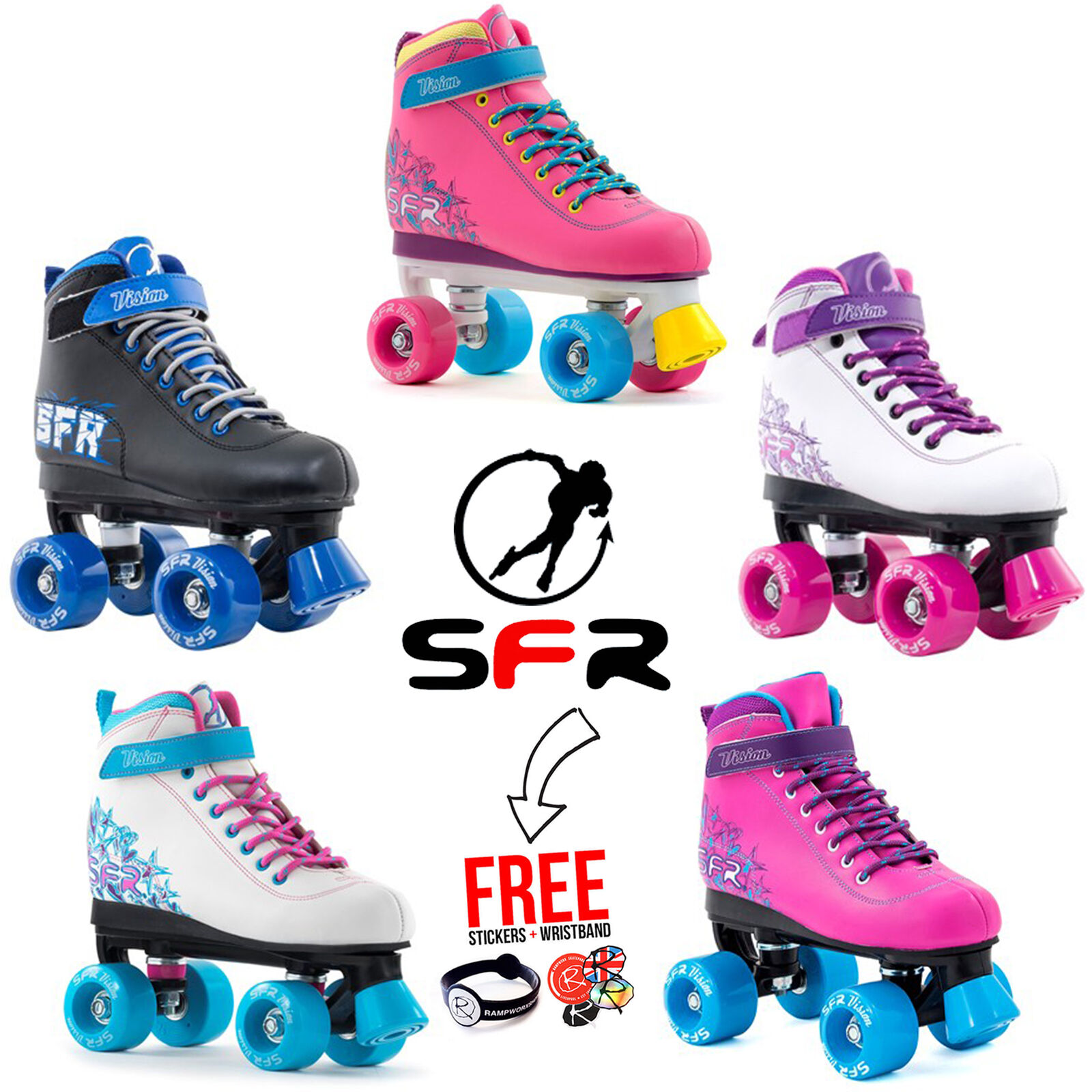 SFR Vision II Roller Derby Bambini Pattini, 5 Coloreei