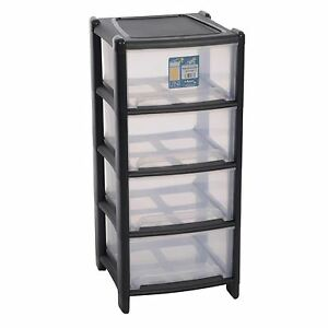 Image Is Loading Wham 4 Drawer Storage Unit Plastic Tower Deep