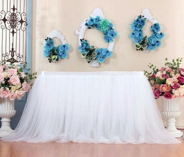 Table Skirt Tutu Tulle Tableware Cloth Baby Shower Wedding Birthday Party Decor