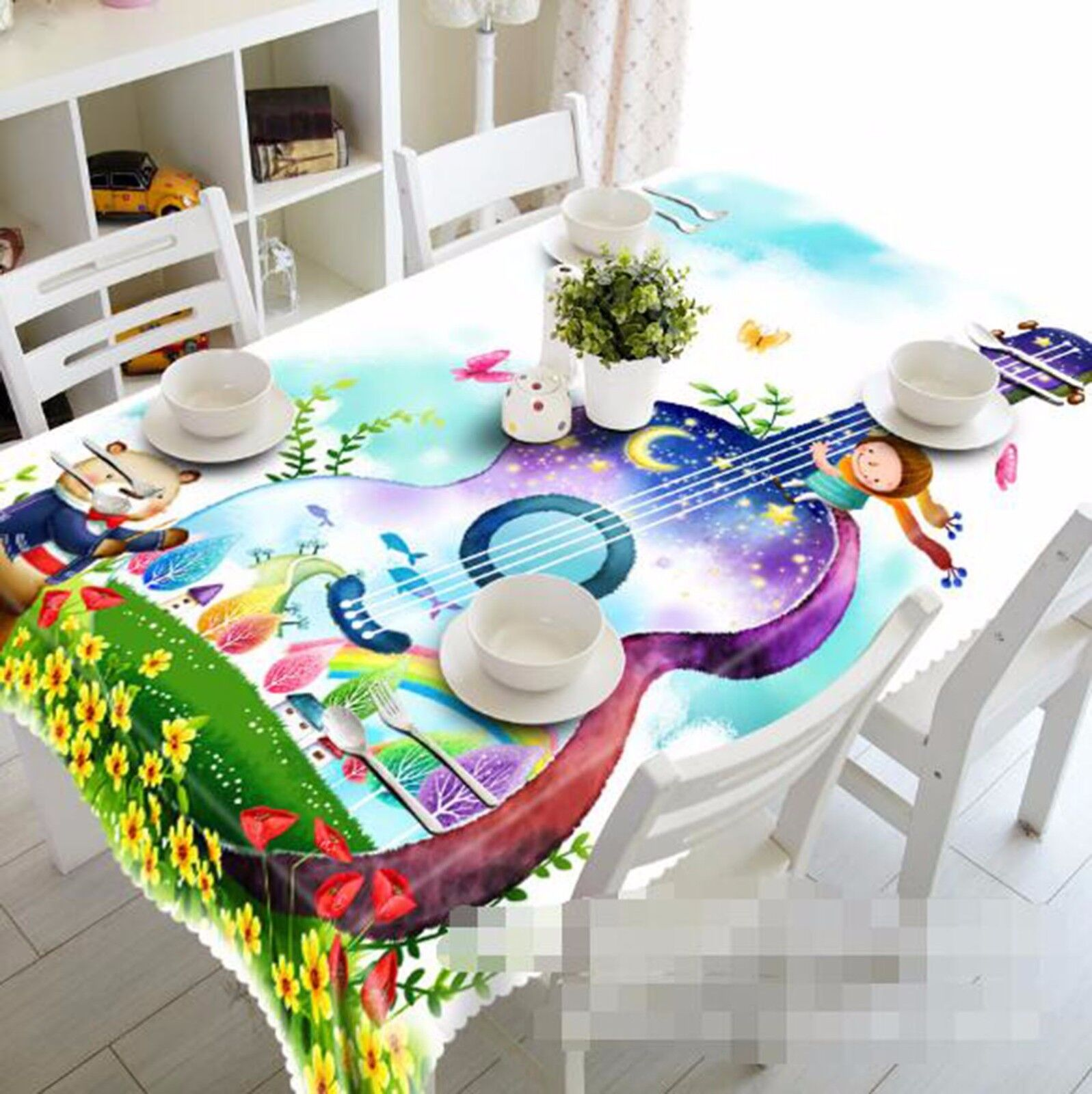 3D Guitar Tablecloth Table Cover Cloth Birthday Party AJ WALLPAPER UK Lemon