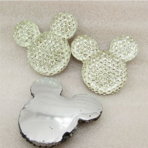 10 x 14 mm clair Paillettes Dos Plat Résine Mickey Minnie Mouse HEADBANDS HAIR BOWS