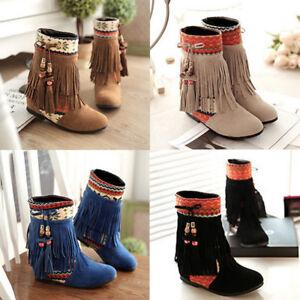 Frau-Winter-Warm-Schnee-Stiefel-Wildleder-Quaste-Mid-Kalb-Stiefel-Flache-Schuhe