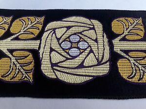 Vintage-Frances-Orphrey-Oro-Flor-en-Negro-Banda-para-Vestment-7-6cm-Ancho