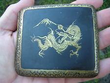 Rare SIGNED Antique Japanese DRAGON Gold Inlaid Damascene Metal Cigarette Case