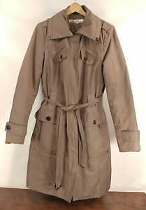 Womens Kenneth Cole New York Taupe Belted Lined Trench