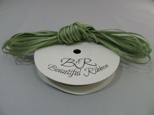 3mm 6mm 10mm 16mm 22mm 38mm 50mm Dusky Salvia Verde Musgo Cinta del Grosgrain Doble