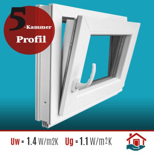 BxH 50x60 cm 2-fach Kellerfenster Beidseitig Weiß ROTO +TOP+