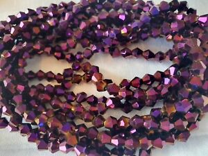Joblot-of-10-strings-Purple-color-6mm-bicone-shape-Crystal-beads-new-wholesale