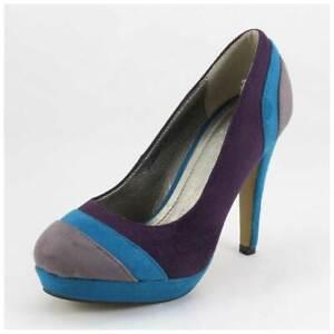 Pumps Gr. 37 High Heels mit Plateau blau/grau/lila (#3526)