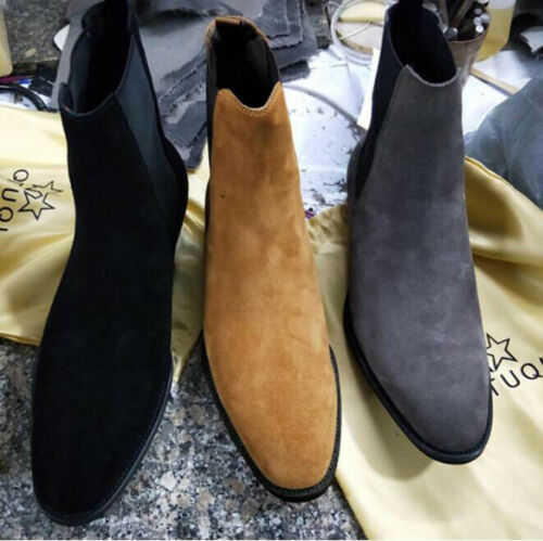 Men Suede Ankle Boots Chukka Chelsea Boots Dress Formal Casual High Top Shoes