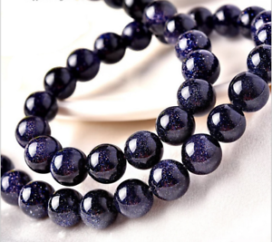 """4//6//8//10mm Natural Blue sand Gemstone Round loose beads 15/""""AAA"""