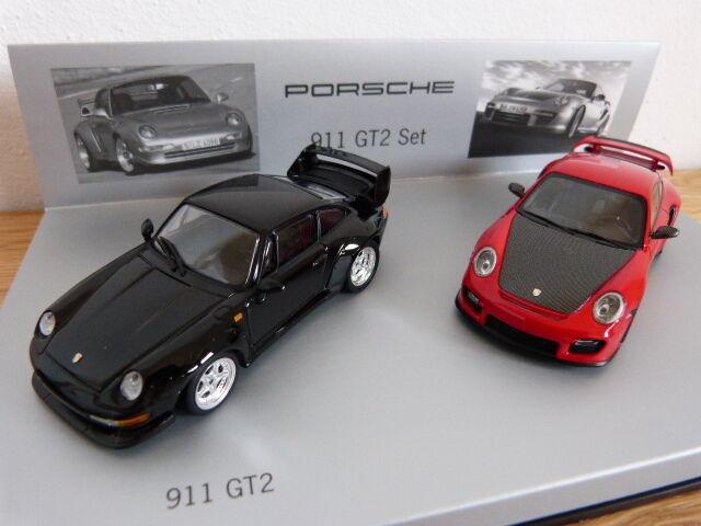Porsche 911 GT2 Set 993 GT2 black + 997 GT2 RS red Minichamps 1 43 WAP020SET27