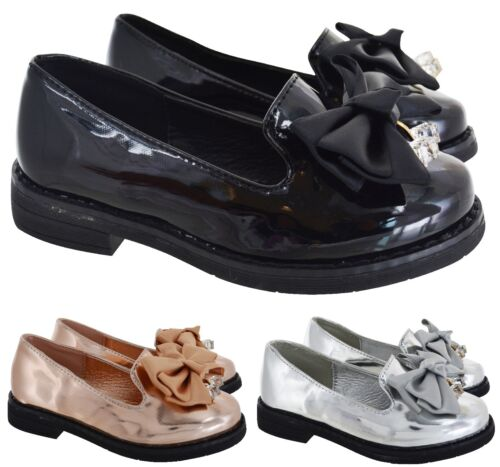 KIDS GIRLS CHILDREN FLAT BOW LOAFERS CREEPER CHUNKY DOLLY SOLE SCHOOL SHOES SIZE