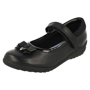 o Strap cuero Mary Fever Ting Girls Clarks Jane charol negro Inf Shoes School xvqYwwB