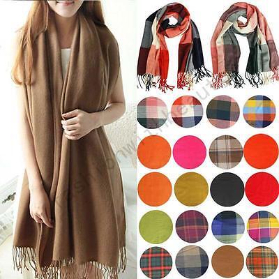 Women Winter Warm Soft Artificial Wool Scarf Plaid Knit Long Scarf Wrap Shawl
