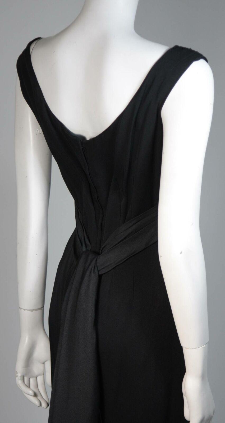 CEIL CHAPMAN 1950s Black Draped Cocktail Dress Si… - image 8