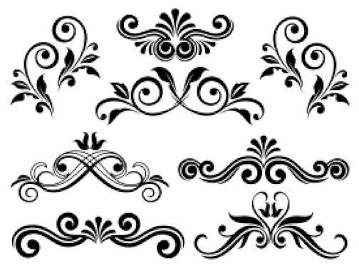 Victorian Swirls Scrolls Floral Flourish Waterslide Decal PIC YOUR COLOR MIS546