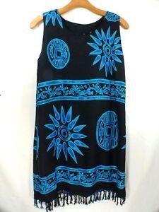 ae8556eb3dca2 INGEAR IG SPORT Swimsuit Cover-Up Mu mu Dress Black & Blue Women's ...