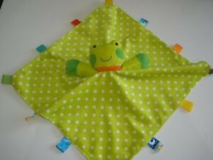 Taggies Green White Polka Dot Frog Security Blanket Rattle Plush Baby Toy Lovey