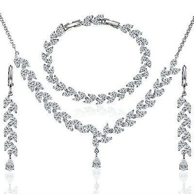 Wedding Bridal Crystal Necklace Bracelet Jewellery Set Platinum Plated partywear