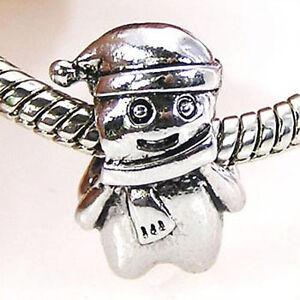 Wholesale-20pcs-Xmas-Snowman-Silver-European-Bracelet-Spacer-Charm-Beads-D377