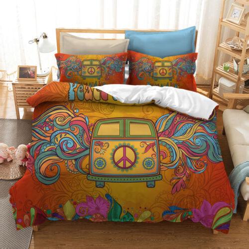 3D Colorful Hippie Peace Symbol Bedding Set Duvet Cover Pillowcase Quilt Cover