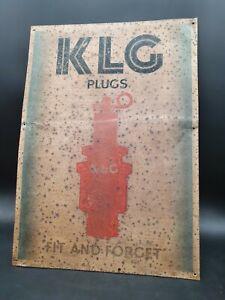 Vintage KLG Spark Plug Advertising Tin Sign Garage Advertising Automobilia Motor