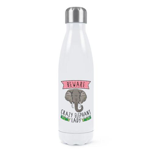 Méfiez-vous Fou Éléphant Lady double paroi Bouteille d/'eau Drôle Animal Blague